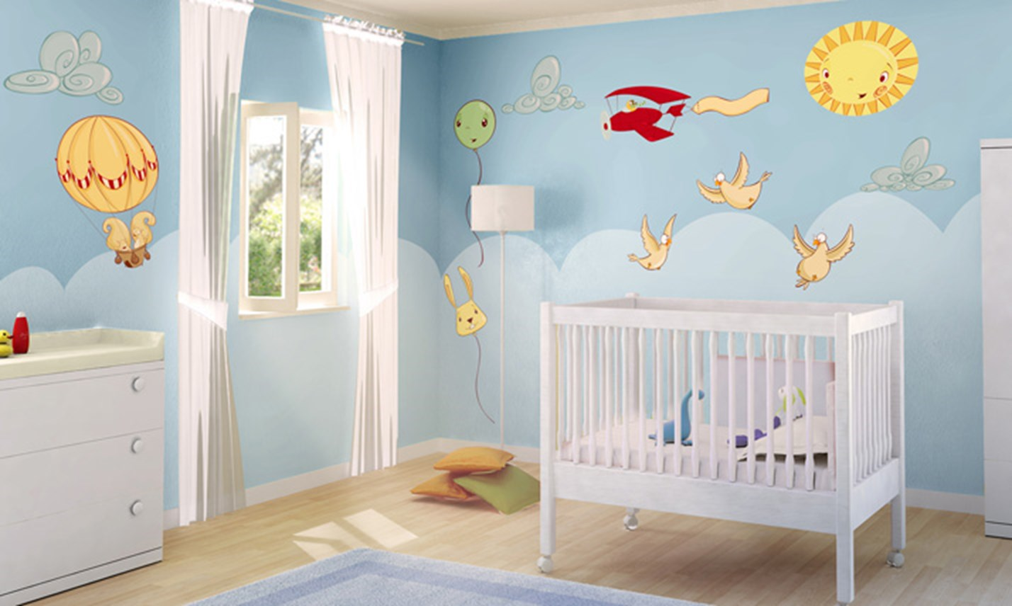 Stickers murali bambini cameretta un tuffo nel cielo leostickers - Adesivi per mobili bambini ...